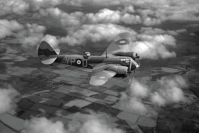 Photograph - Bristol Blenheim In Flight Bw Version by Gary Eason