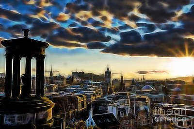 Mixed Media - Bristol England Skyline by Marvin Blaine