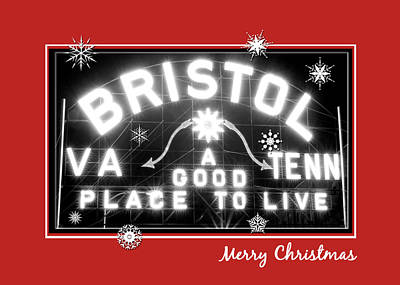 Photograph - Bristol Sign Holiday Christmas Card by Denise Beverly