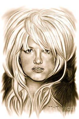 Famous Women Singers Drawing - Britney In Antic by Gitta Glaeser