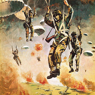 Parachute Painting - British 1st Airborne Division Dropping On Arnhem On 17th September, 1944 by Graham Coton