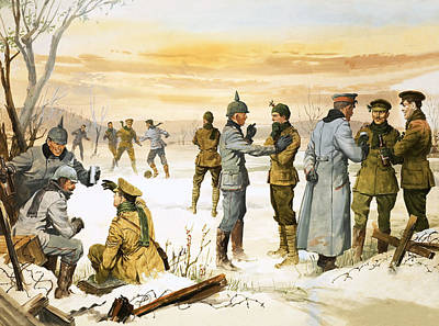 British And German Soldiers Hold A Christmas Truce During The Great War Art Print by Angus McBride