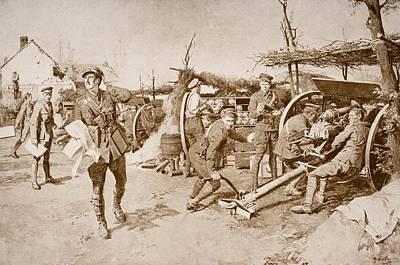 Manning Drawing - British Artillery Units Manning Guns At by Vintage Design Pics