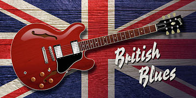 Digital Art - British Blues Es-335 by WB Johnston