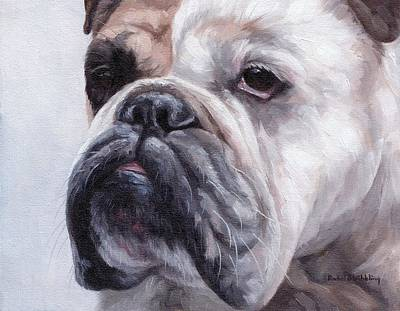 Bulldog Oil Painting - British Bulldog Painting by Rachel Stribbling