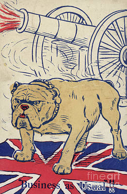 British Bulldog Stading On The Union Flag And With A Cannon Firing Art Print by English School
