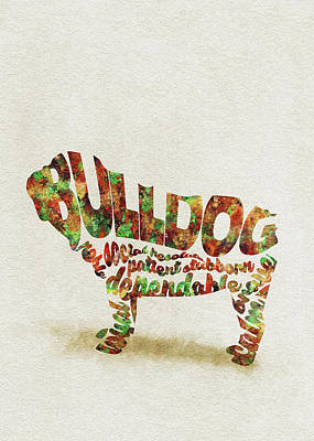 Painting - British Bulldog Watercolor Painting / Typographic Art by Inspirowl Design