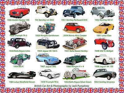 Painting - British Car Art Poster by Jack Pumphrey