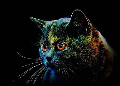 Portraits Of Pets Mixed Media - British Cat by Denis Bajan