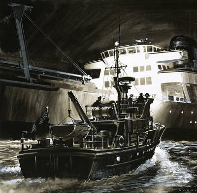 British Coastguard Patrol  Art Print by Wilf Hardy
