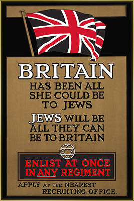 Digital Art - British Flag And The Magen David 1915 Poster - Remastered by Carlos Diaz