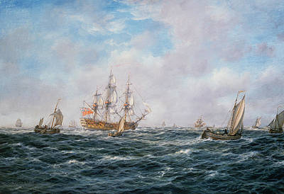 Galleon Painting - British Man-o-war And Other Craft by Richard Willis