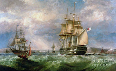 Atkinson Painting - British Men-o'-war Sailing Into Cork Harbour  by George Mounsey Wheatley Atkinson