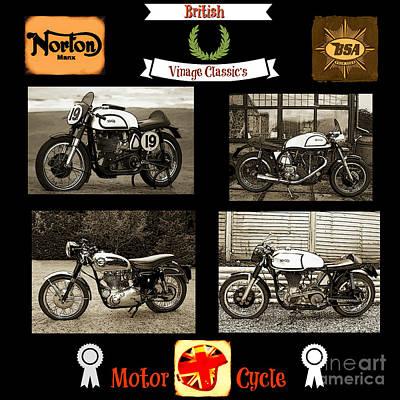 Digital Art - British Motorcycle - Vintage by Ian Gledhill