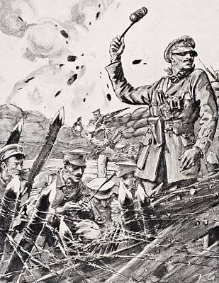 British Officer Hurling Grenades From Art Print by Vintage Design Pics