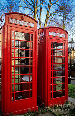 Antiquated Photograph - British Phonebooths by Inge Johnsson