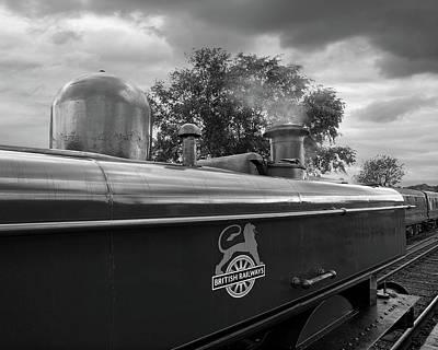 Railway Station Photograph - British Railways Steam Train Mono by Gill Billington
