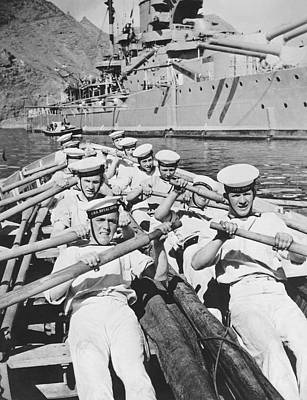 Rowing Photograph - British Sailors Rowing by Underwood Archives