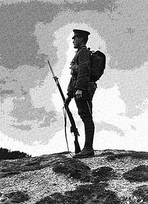 British Soldier With Fixed Bayonet, First World War, 1914-1918. Art Print