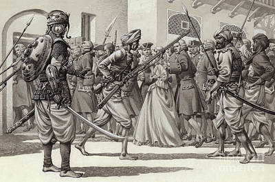Colonial Troops Painting - British Soldiers Are Forced Into The Black Hole Of Calcutta by Pat Nicolle