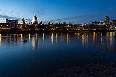 Photograph - British Symbols And Landmarks - Saint Pauls Cathedral Blue Hour Reflections by Georgia Mizuleva
