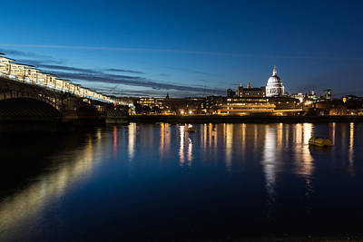 Photograph - British Symbols And Landmarks - Silky Reflections Saint Paul Cathedral And Blackfriars Bridge by Georgia Mizuleva