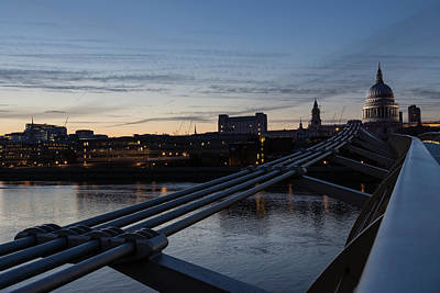 Photograph - British Symbols And Landmarks - Silver Evening At The Millennium Bridge by Georgia Mizuleva