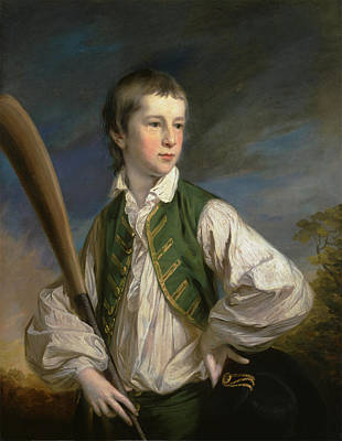 British Title Charles Collyer As A Boy  With A Cricket Bat Art Print by Francis
