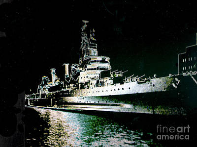 - British Warship On The Thames At Night by Merton Allen