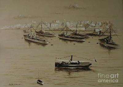 Painting - British Warships In Malta Harbour 1941 by Tony Calleja