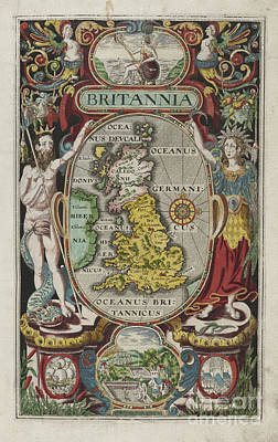 Photograph - Brittania Map By Camden 1603 by Rick Bures
