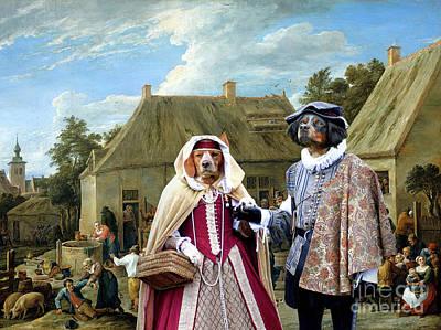Painting - Brittany - Epagneul Breton Art Canvas Print - Village Celebrety by Sandra Sij