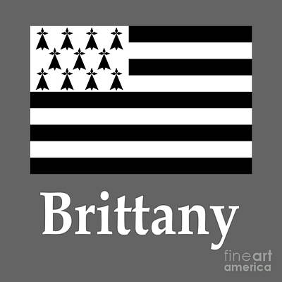 Stellar Interstellar - Brittany, France Flag And Name by Frederick Holiday