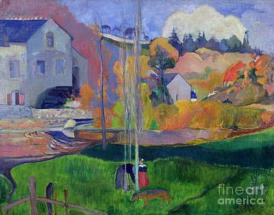 Mill Painting - Brittany Landscape by Paul Gauguin