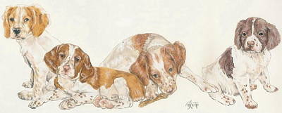 Sporting Mixed Media - Brittany Spaniel Puppies by Barbara Keith