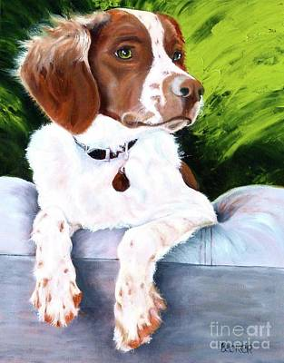 Spaniel Puppy Painting - Brittany Spaniel by Susan A Becker