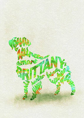 Painting - Brittany Spaniel Watercolor Painting / Typographic Art by Inspirowl Design