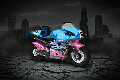 Britten Digital Art - Britten V1000 1995 City by Aged Pixel