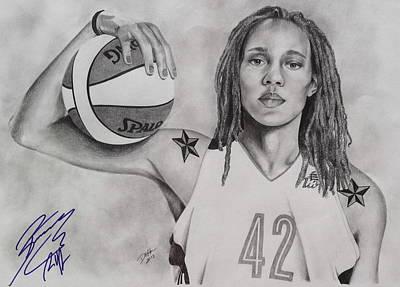 Drawing - Brittney Griner Game Changer by Devin Millington