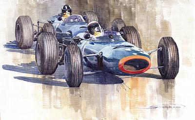 Watercolour Wall Art - Painting - Brm P261 1965 Italian Gp Stewart Hill by Yuriy Shevchuk