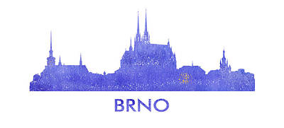 Brno City Purple Skyline. Art Print by Vyacheslav Isaev