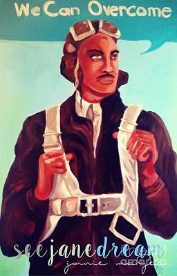 American Airmen Painting - Bro Pray  We Can Overcome by Janie McGee