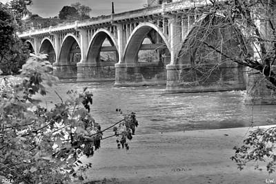 Photograph - Gervais Street Bridge Black And White by Lisa Wooten