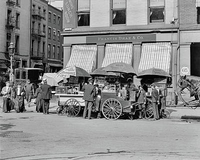 Photograph - Broad St. Lunch Carts New York by Anthony Murphy
