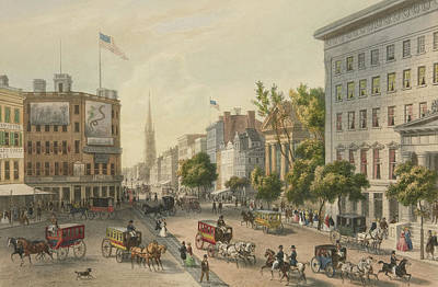 City Scenes Drawing - Broadway by Augustus Kollner