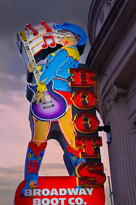 Tennessee. Country Music Digital Art - Broadway Boot Co. Sign, Nashville, Tennessee by Art Spectrum