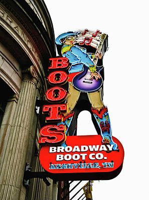 Photograph - Broadway Boot Neon Sign by Tony Grider