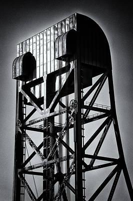Photograph - Broadway Bridge South Tower Detail 1 Monochrome by Jeremy Herman
