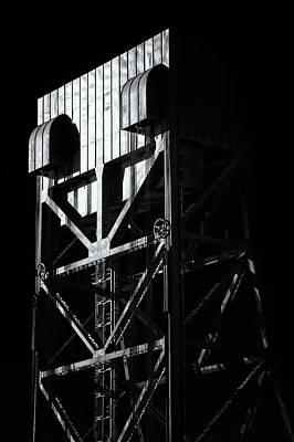 Photograph - Broadway Bridge South Tower Detail 3 Monochrome by Jeremy Herman