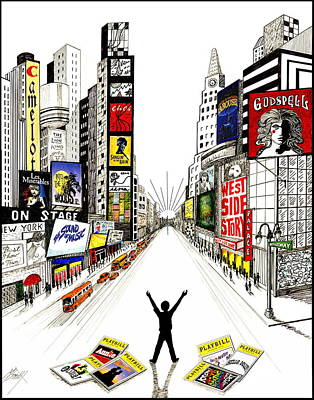 Times Square Drawing - Broadway Dreamin' by Marilyn Smith